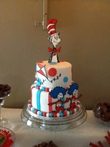 Dr. Seuss Themed Cake   Blog Has Pictures Of Seuss Themed Party  Decorations. Candy