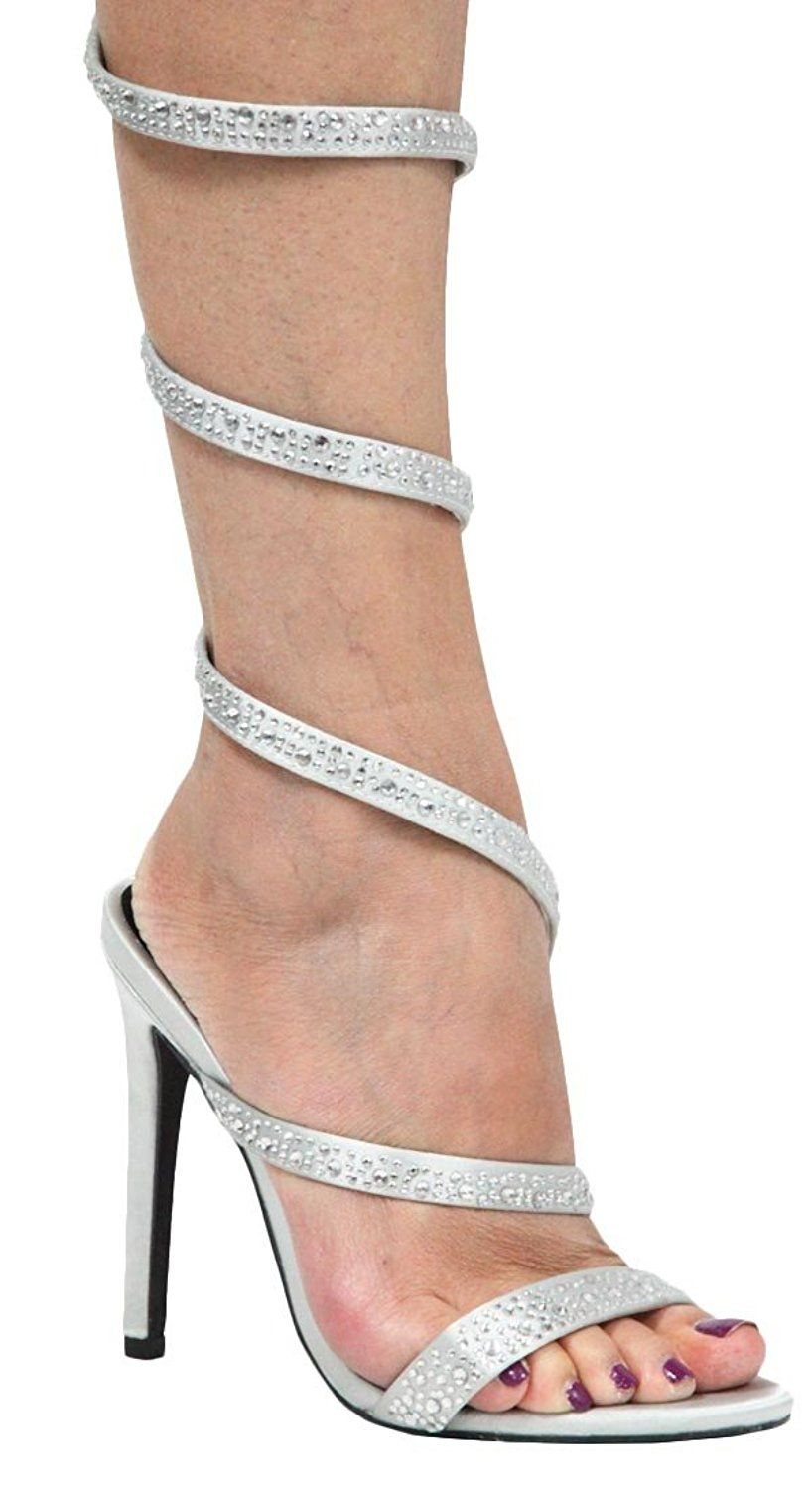 61cdbd1f418e CAPE ROBBIN Women s Coiled Spiral Wrap Around Embellished Rhinestone Heeled  Sandal   You can find more details by visiting the image link.