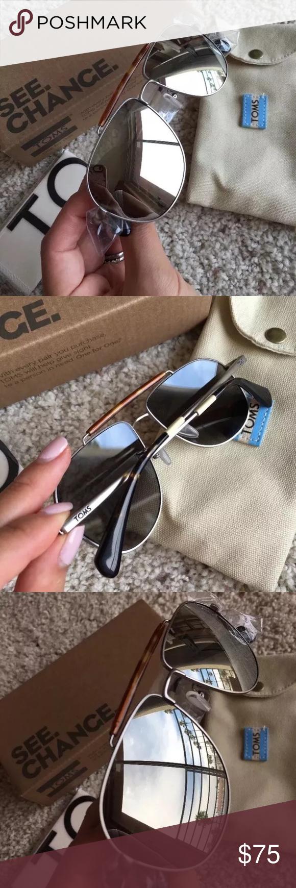 5650faa9c15 Toms Booker Silver Aviator Sunglasses New Authentic Toms sunglasses Booker  Aviator style Silver lenses In