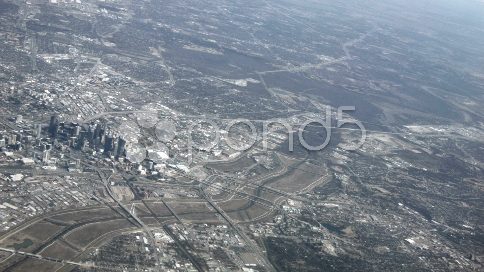 Aerial Dallas Ft Worth from aircraft HD BM 1557 Stock