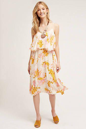 Magnolia Floral Midi Dress, Yellow