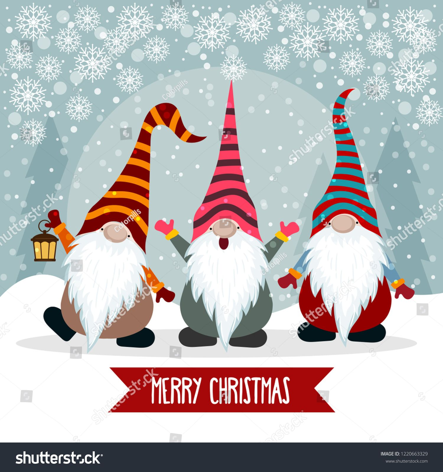 Christmas Card With Cute Gnomes Flat Design Vector Sponsored Ad Cute Card Christmas Gnomes Funny Gnomes Christmas Drawing Christmas Paintings