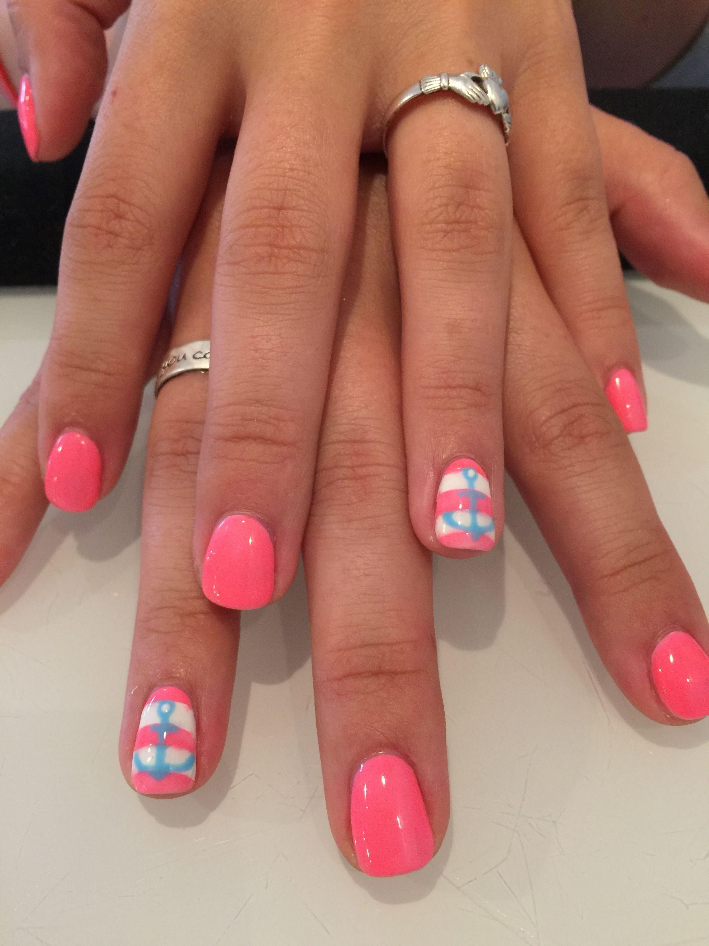 Pink with stripe and blue anchor accent nail nails in
