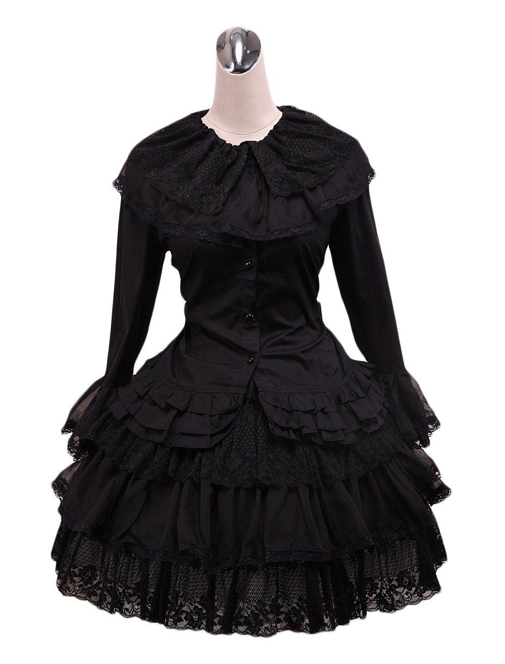 Zkcostume womenus lolita black long sleeve lace ruffles dress for