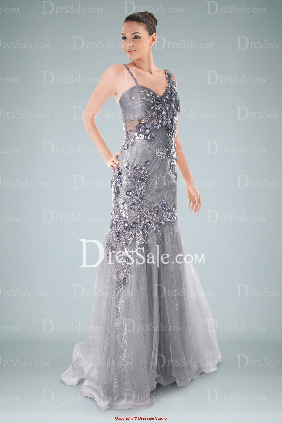 Chic Lace Sheath Evening Gown Enhanced with Organza Overlay and ...
