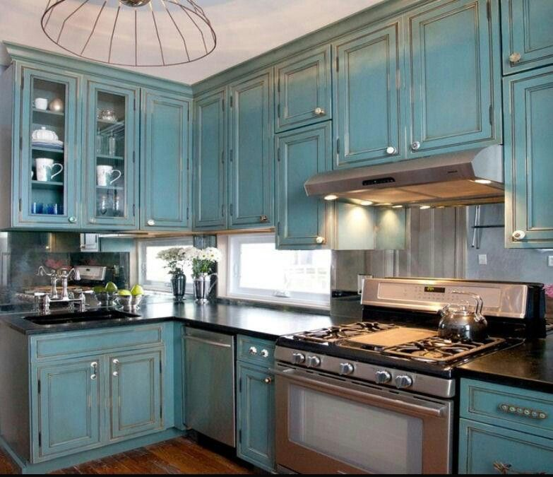 Colorful cabinets | Distressed kitchen cabinets, Turquoise ...