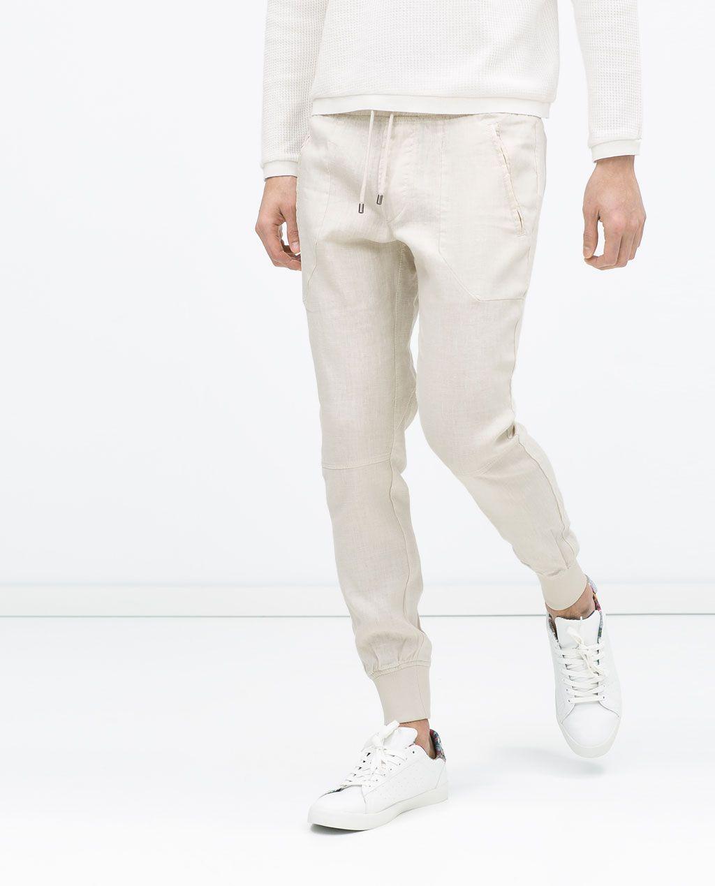 df1151ce4a5b30 ZARA - SALE - LINEN JOGGING PANTS | BOTTOM | Pants, Mens joggers ...