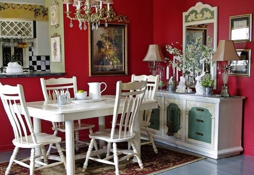 french country dining room ideas with red walls and white .