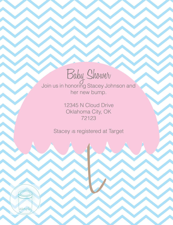 PRINTABLE Chevron Umbrella Baby Shower Invitation- PDF File   oh ...