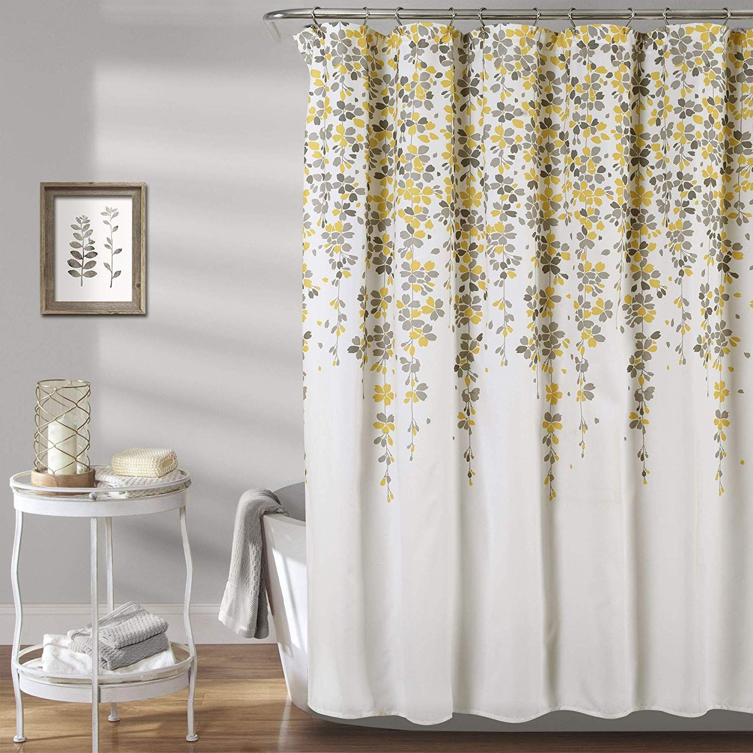 Calming Decorative Design With Cascading Yellow And Gray Flowers