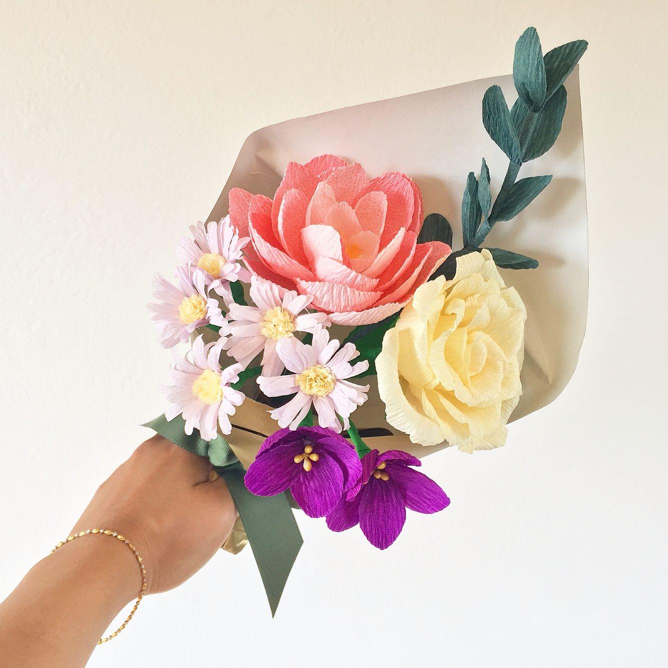 Crepe paper flowers bouquet of violets, daisies, camellia, rose ...