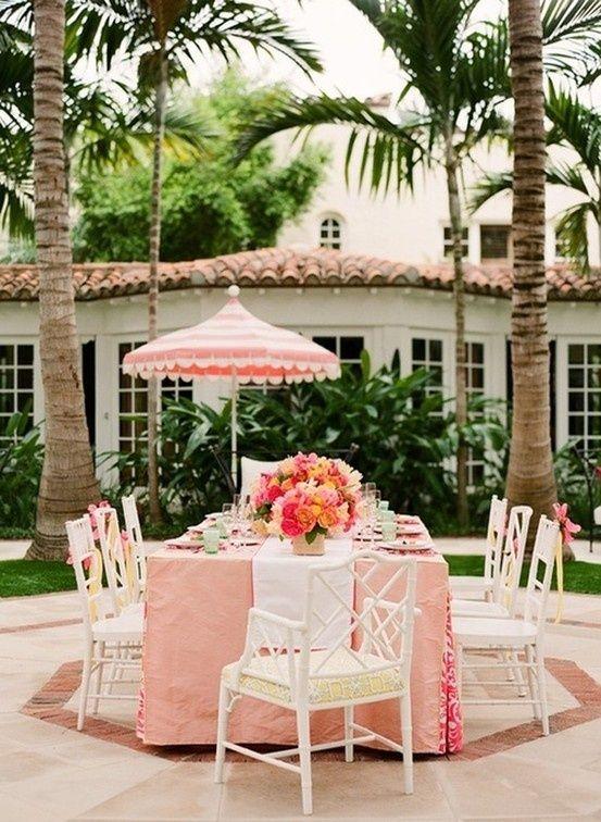 Attirant Palm Beach Pink..pink Patio Umbrella..garden Party + Summer + Dining  Alfresco + Vintage Spanish Villa + Might Be Coconut Grove..pretty.