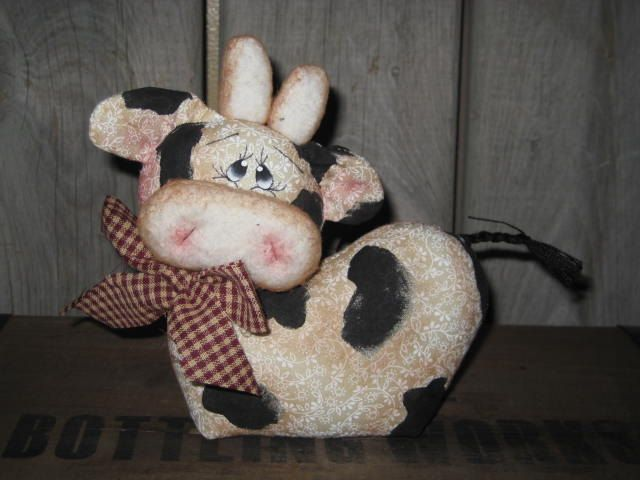 Primitive Hand crafted Cow Calf Doll Shelf by GooseNBerryCorners