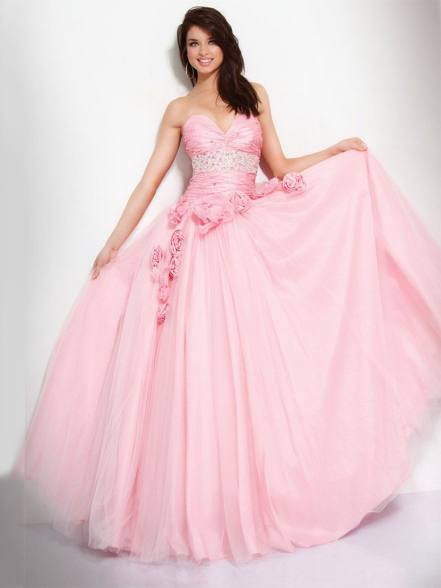 Ball Gown Pink Strapless Sweetheart Drape Beaded Prom Dress With ...