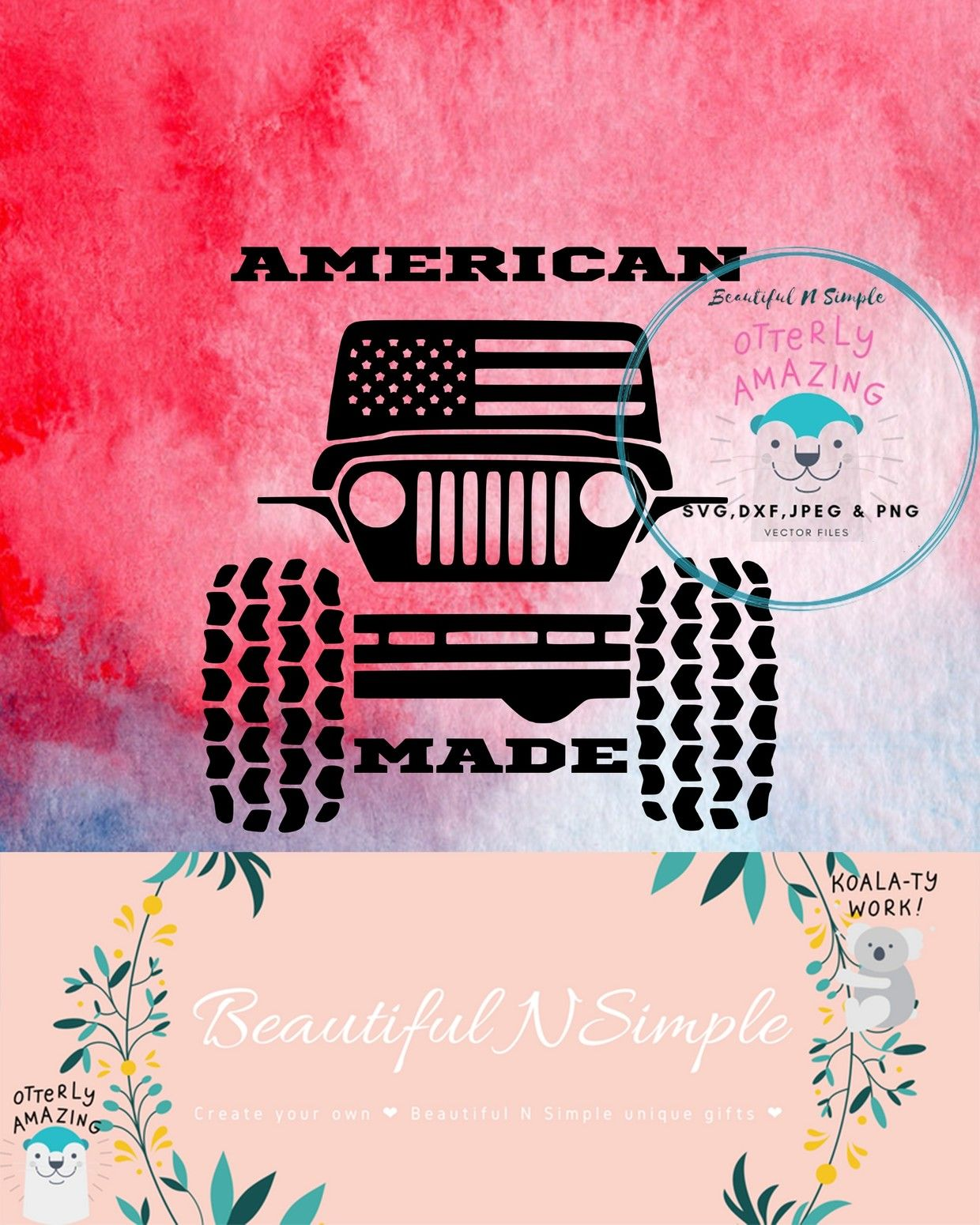 American Made Jeep, Jeep Wrangler, American Flag SVG DXF