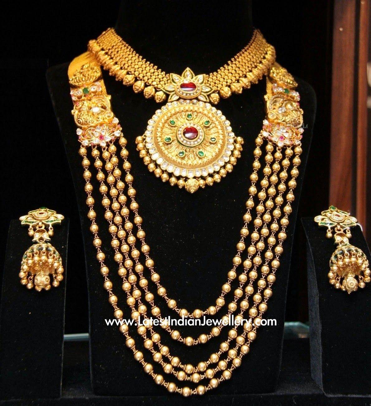 Bridal Diamond Necklace And Haram Set: Latest Gold Necklace And Haram Set
