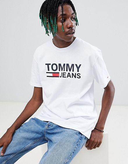 ec873e7e2 Tommy Jeans Capsule classics flag logo print t-shirt in white ...