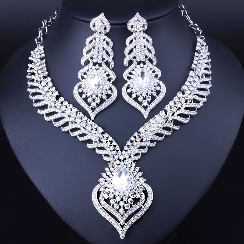Fashion Peacock Tail Feathers Shaped Necklace And Earrings For Women Elegant White Crystal Rhinestones Bridal Jewelry