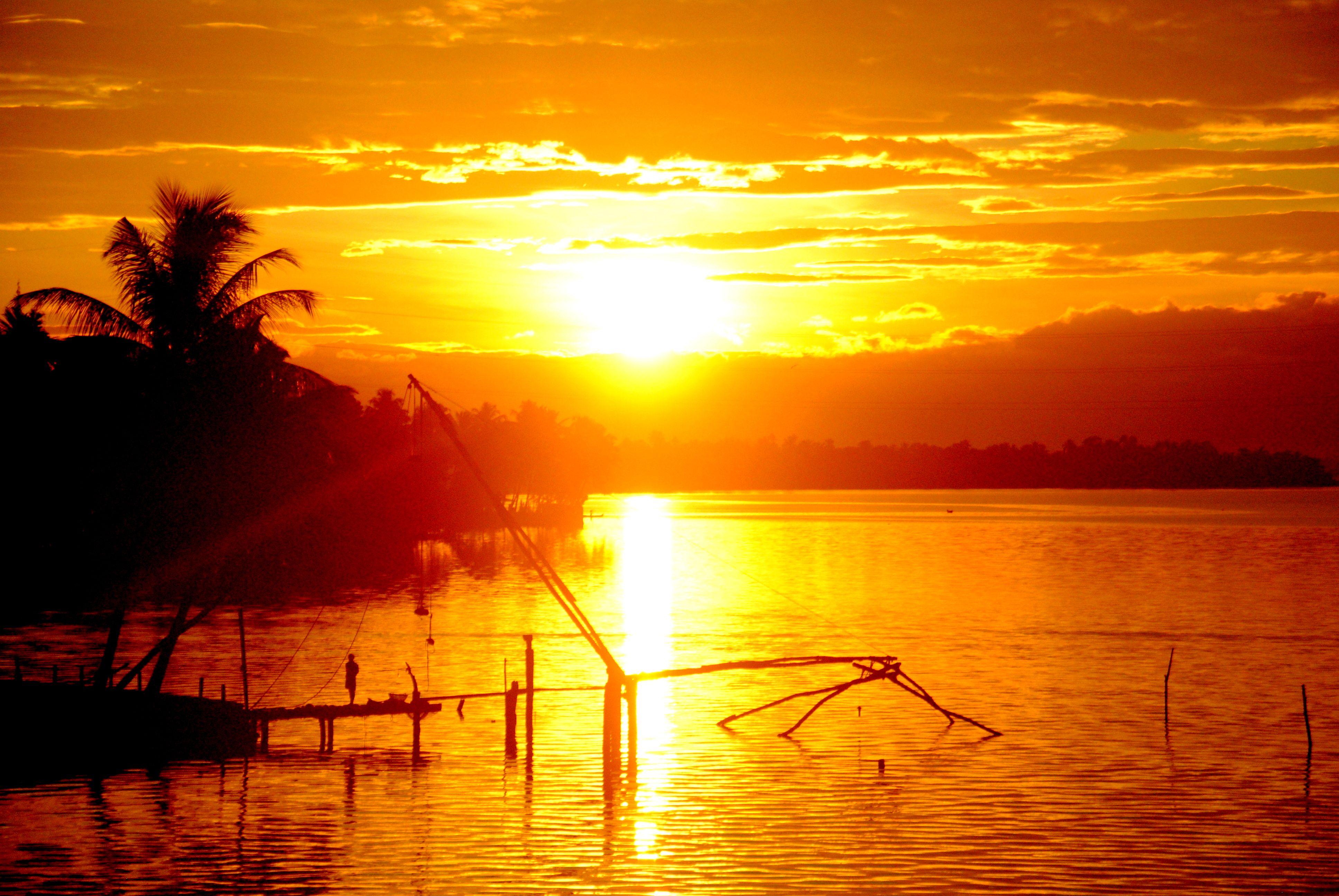 Nature Sunrise Beauty Wallpaperia Com Alappuzha Nature Honduras Travel