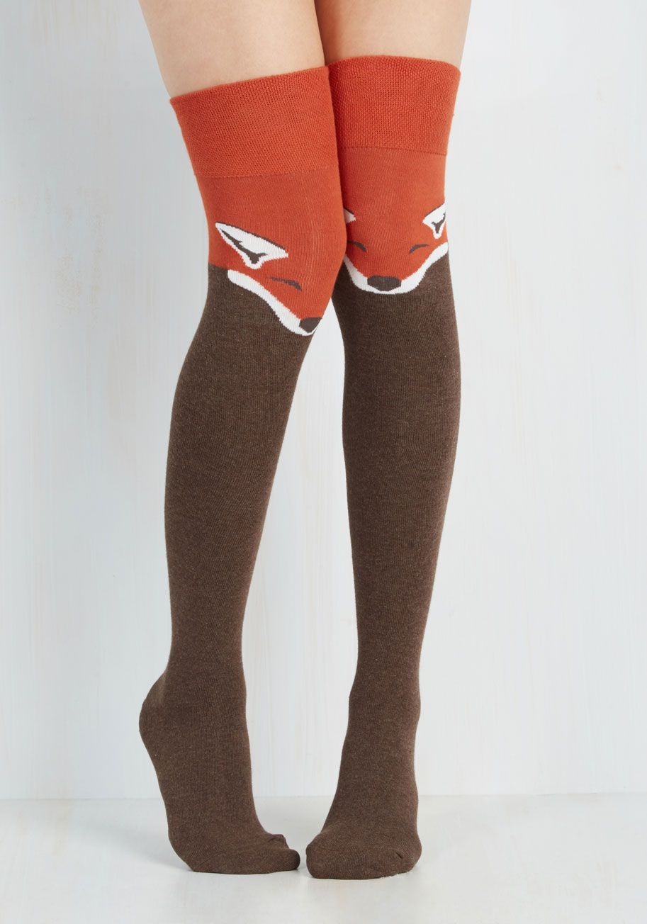 231417571165d Fur the Win Thigh Highs in Fox. Every outfit becomes a stylish victory when  sporting these critter printed socks! #orange #modcloth