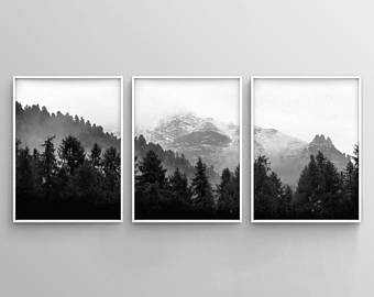 3 Piece Forest Wall Art Print Set Of 3 Forest Landscape Art Green Forest Printable Nature Printable Modern Art Minimalist Misty Decor In 2021 Forest Wall Art Black And White Wall