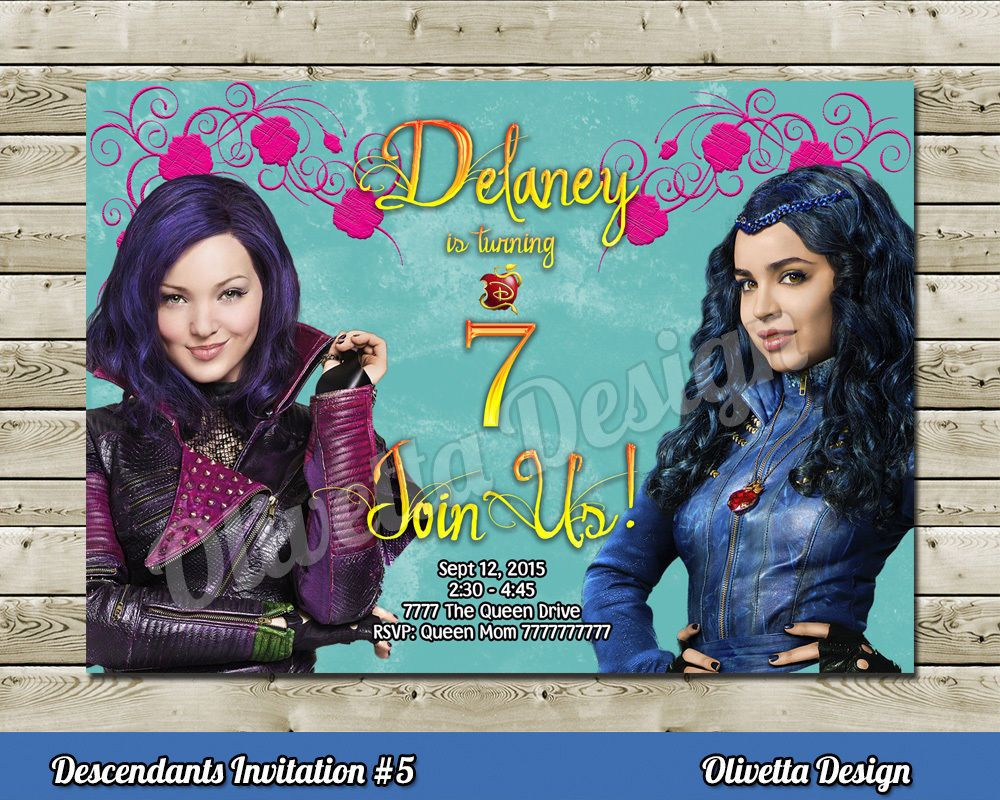 DESCENDANTS Birthday Party Invitation Personalized YOU PRINT Printable Disney BirthdayChild