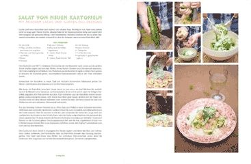 Salat von Kartoffeln mit Lachs und Gurken-Dill-Dressing