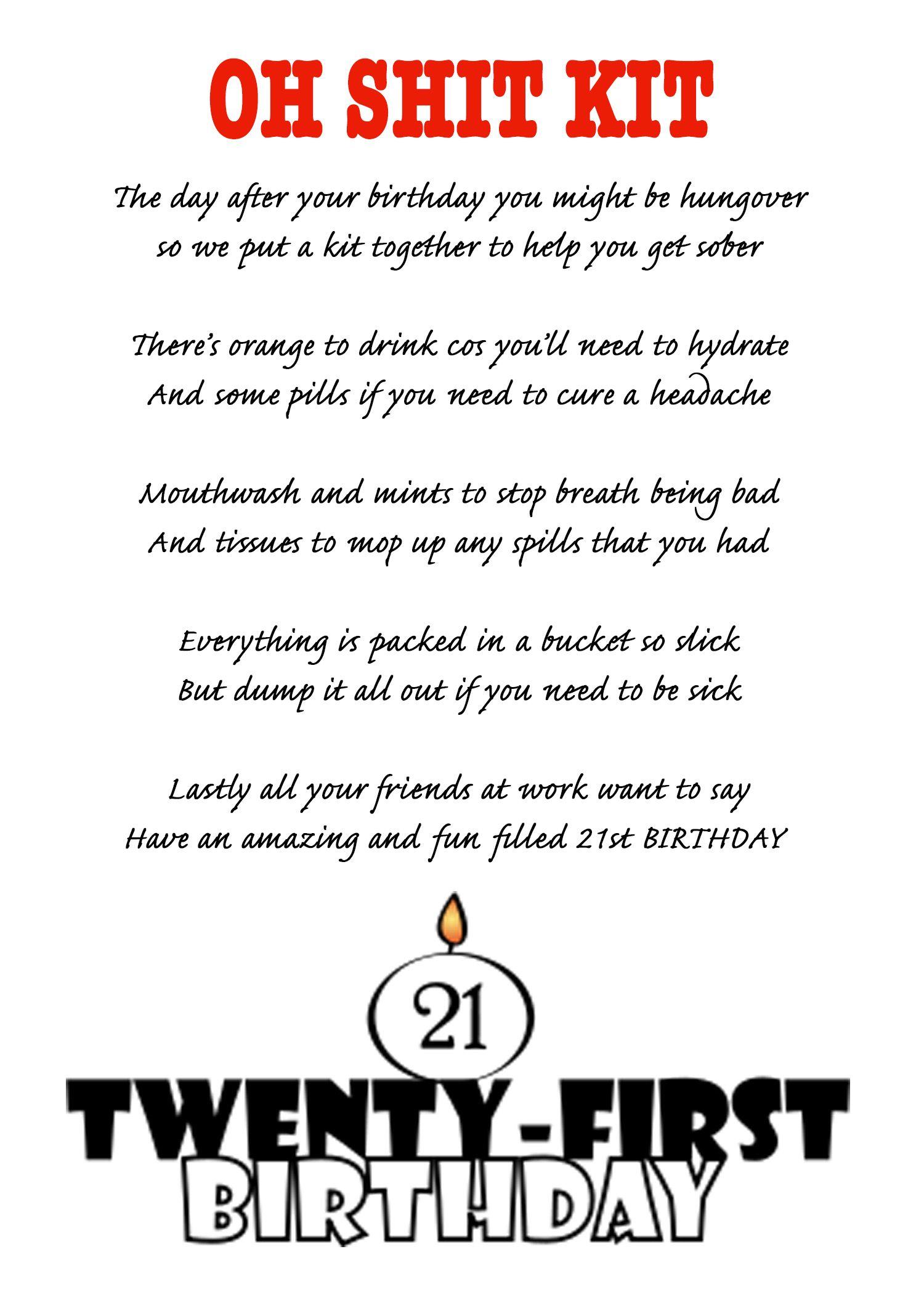 21st birthday poem for oh shot kit Birthday poems, 21st