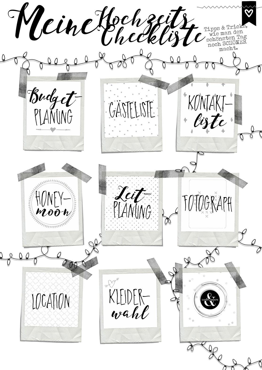 Hochzeitscheckliste Zeitplanung Hochzeitsplaner mit Kalender 2017