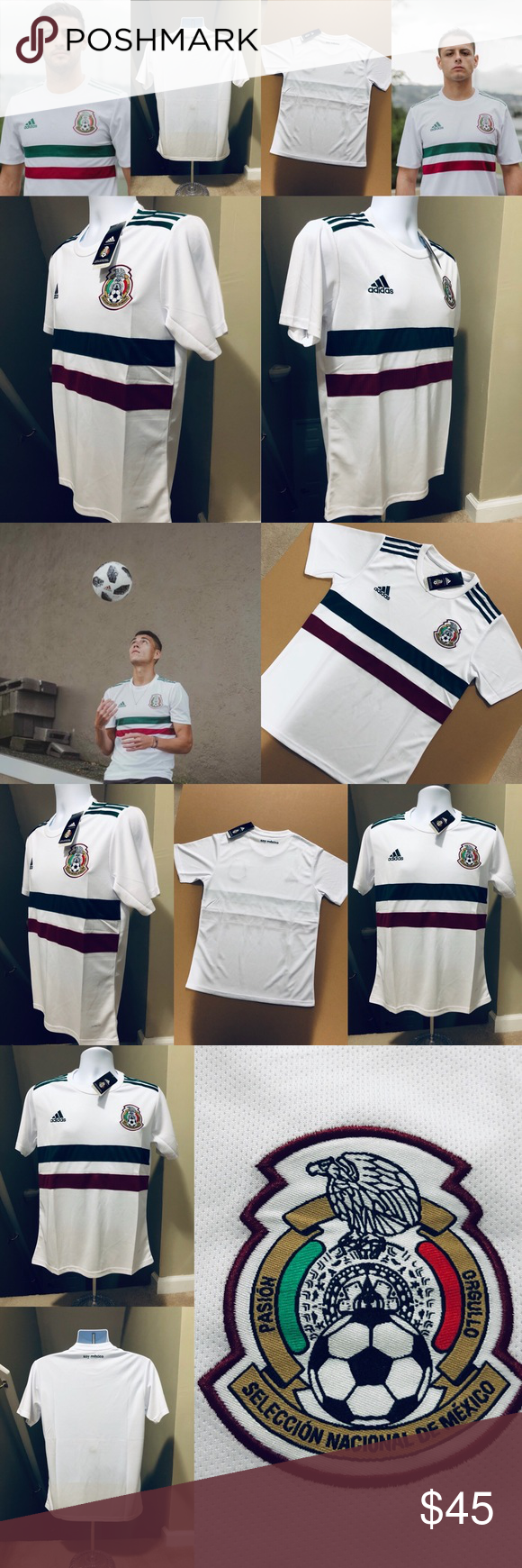 41686df77 2018 Mexico Soccer Jersey ⚽ Futbol World Cup 2018 Mexico World Cup Soccer  Jersey Adult Men's Sizes : Small to XL Away Color Version (White) Same  Jersey ...