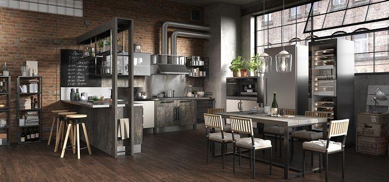 Open space cucina e sala da pranzo, stili di arredamento, pavimento ...