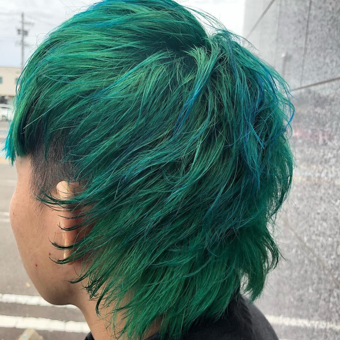 同期の髪を草むらカラーにしました ブリーチ2回にマニパニで完成