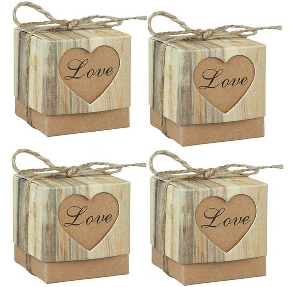 123Arts 100 pcs Candy Boxes Love Rustic Kraft Bonbonniere With ...