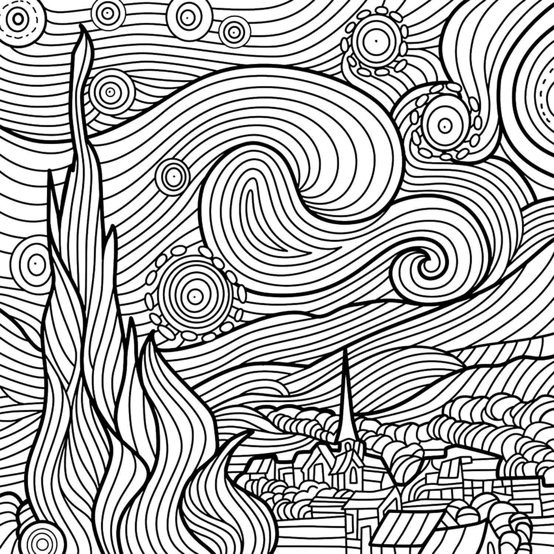 Van Gogh Noite Estrelada Doodles Sketching Nel 2019