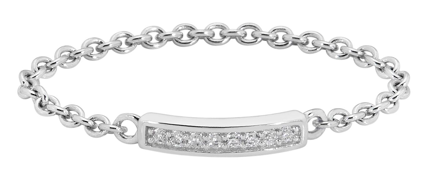 Magic Touch Love Bar ring is a chain ring set with 8brilliant cut micro set cubic zirconia gemstonesSterling silver