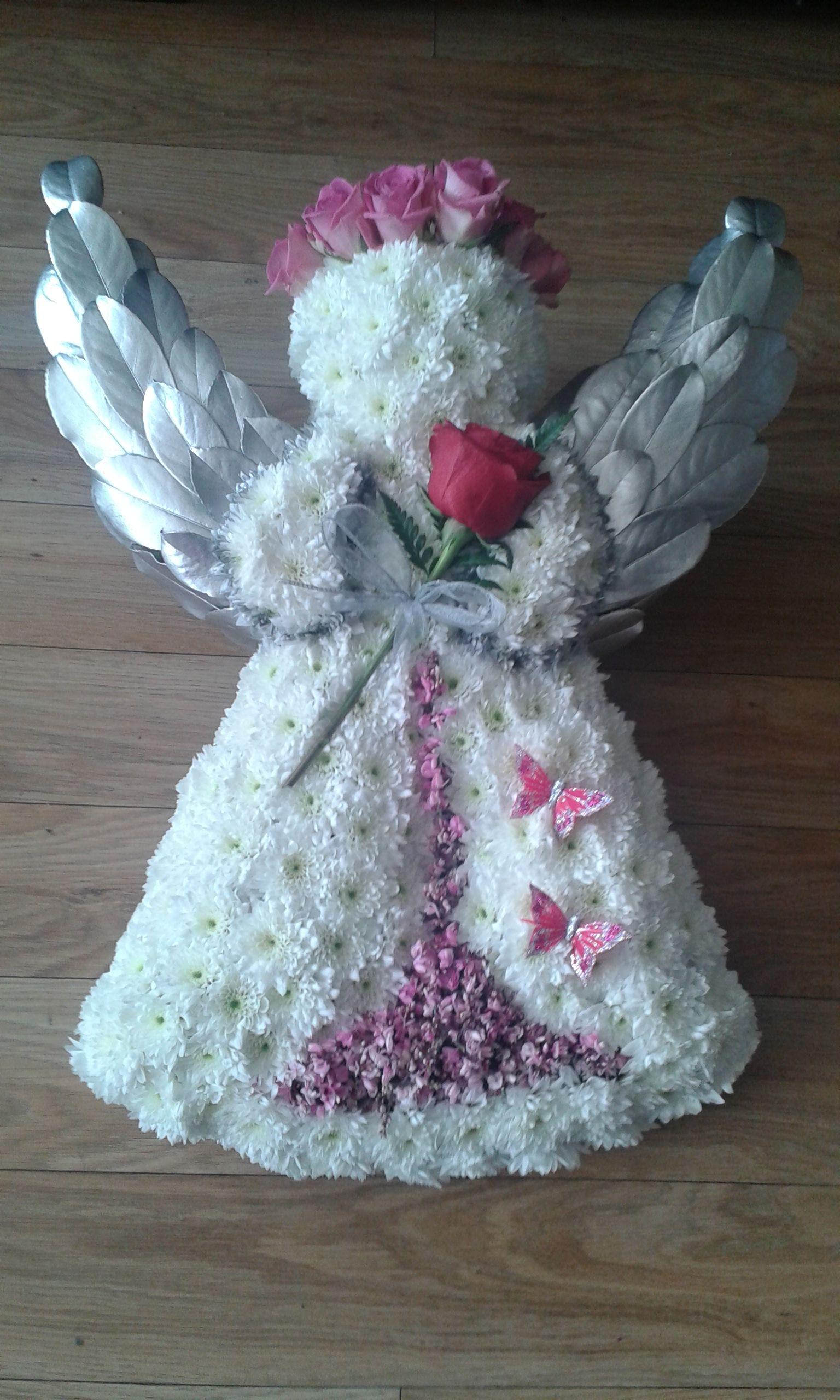 Angel tribute in white and pink funeralflowers flower save angel tribute in white and pink funeralflowers izmirmasajfo