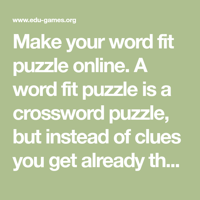 make your word fit