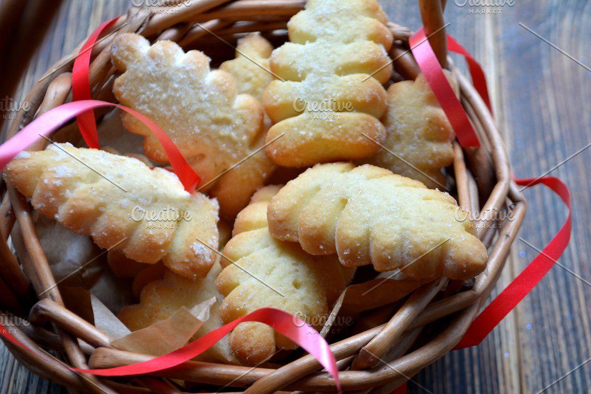 Christmas cookies in a basket