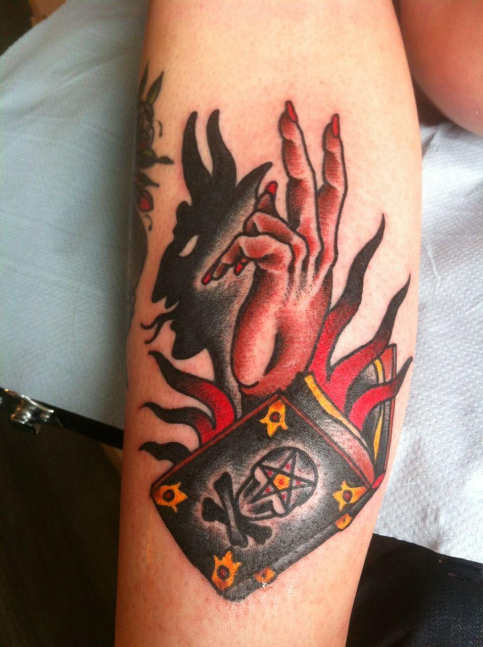 Satanic coloured old school tattoo hand tattoos pinterest hand shadow satan tattoo design with pagan symbol tattoo biocorpaavc Gallery