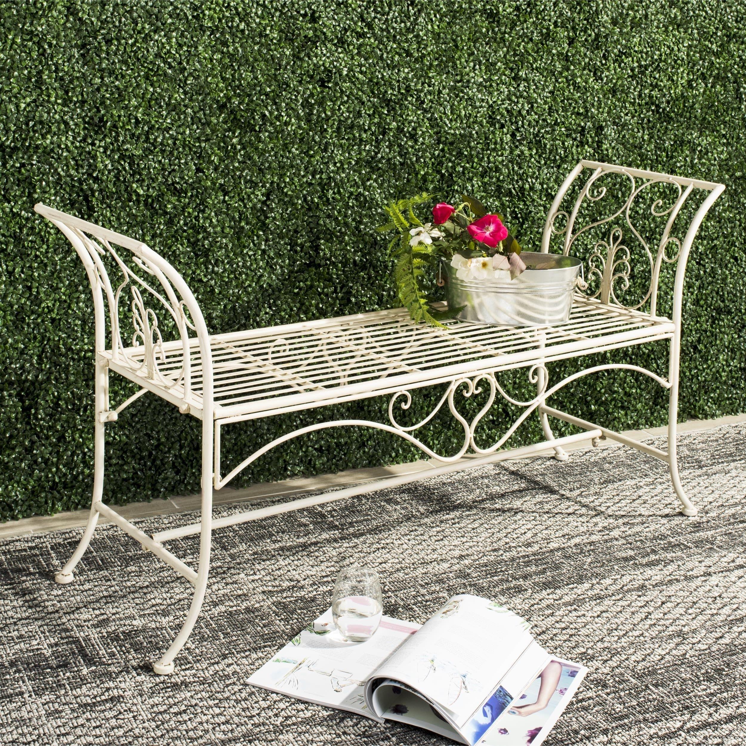 Safavieh Outdoor Living Adina White Wrought Iron Garden Bench 51 Inches 51 3 X 16 3 X 27 Outdoor Garden Bench Garden Seating Metal Garden Benches