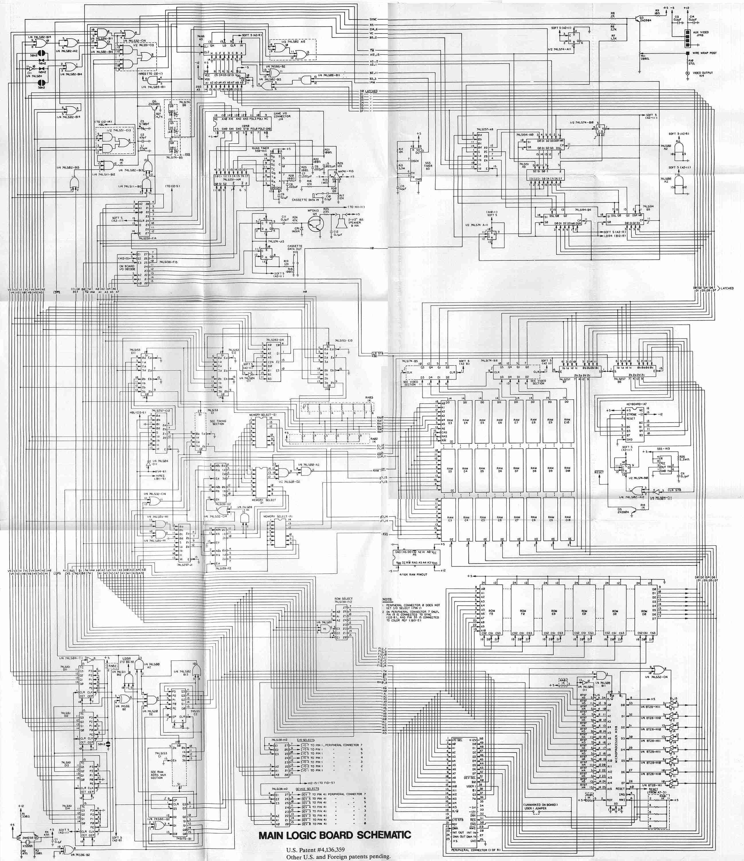 apple 2 main logic board electronic circuit schematic [ 2595 x 3006 Pixel ]