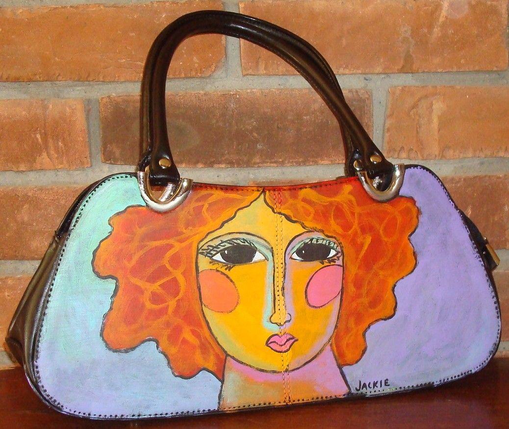 f56c21d909d Hand Painted Handbag Purse Shoulder Bag Funky Abstract Portrait of a Woman