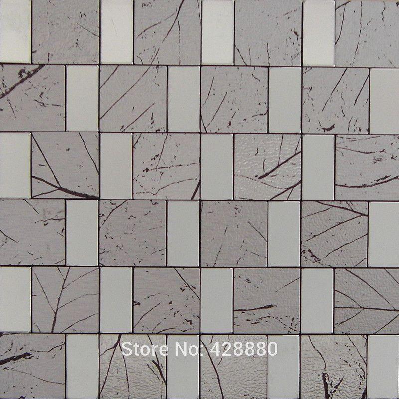 metallic tile sheets metal tiles steel aluminum blend mosaic tiling designs crystal glass tiles wall - Schwarzweimosaikfliese Backsplash