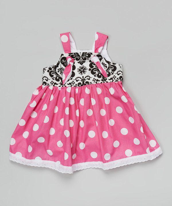 Another great find on #zulily! Petite & Posh Black Damask & Polka Dot Dress - Toddler & Girls by Petite & Posh #zulilyfinds