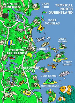 Map Of North Queensland Australia.Tropical North Queensland Comic Map Australia In 2019