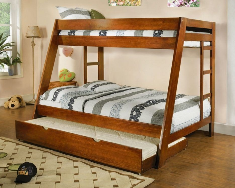 Twin Over Queen Bunk Bed Feature Futon And Varnished Wood Plus Brown Stain Wall Together With Stairs Also
