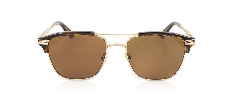 8fac113d0d0 Gucci Havana GG0241S 002 Square-Frame Metal Sunglasses