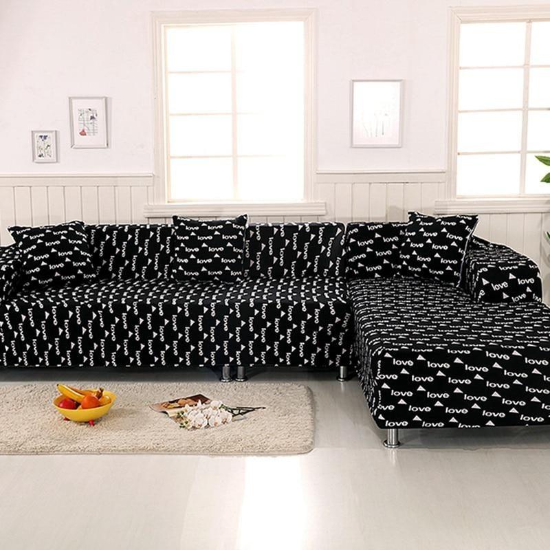 Black Love Sectional Sofa Slipcovers Elastic L Shape Sofa Cover Brief Style Us 56 10 Sectional Sofa Slipcovers Corner Sofa For Small Space Sectional Sofas Living Room