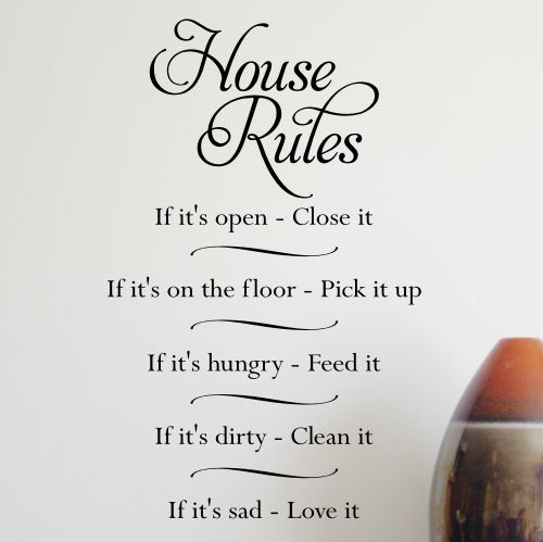 Wall Sticker Design HOUSE RULES Wall Sticker Sizes Available - House rules wall decals