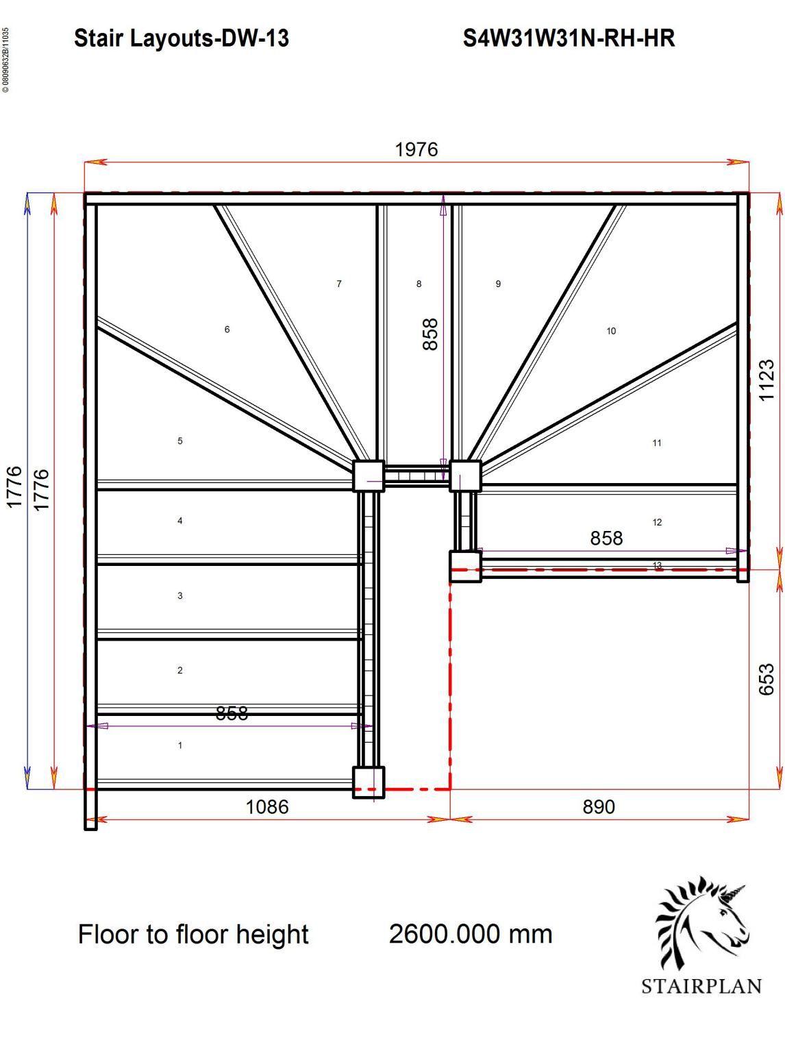 Best Tradestairs Rh Double Winder Handrail Escaleras De 400 x 300